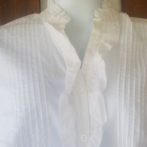 Investments Tops - Investments white ruffled blouse...LOVE IT